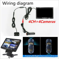 "Car Rear View Kit 7"" LCD Monitor +4Pcs Reverse Camera"