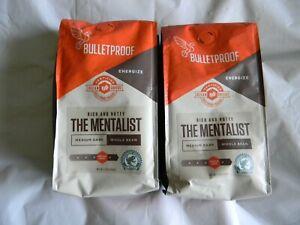 2 Packs BULLETPROOF THE MENTALIST MEDIUM DARK WHOLE BEAN COFFEE 12 OZ 3/05/21