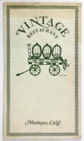 1970's Original Vintage Dinner Menu VINTAGE RESTAURANT Modesto California