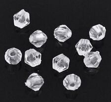 "1000 Clear Transparent Acrylic Faceted Bicone Beads Spacer 4mm(0.16"")"