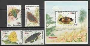Barbados - Courrier 1991 Yvert 816/9 + Hb 29 MNH Faune Papillons