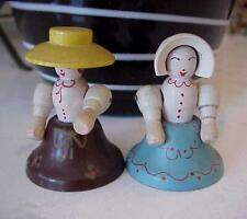 PAIR OF ANTIQUE AMISH WOOD WOODEN HAND PAINTED FIGURINE BELLS
