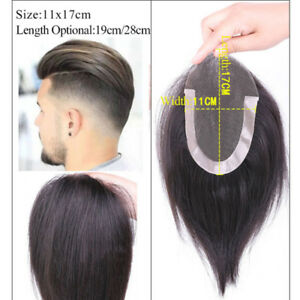 Mens Human Hair Toupee Hairpieces French Lace Front Replacement System Mono