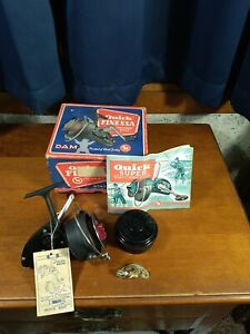 Vintage Quick Finessa DAM Fishing Spin Spinning Reel Germany w Box & accessories