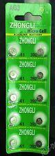 10 pieces ZHONGLI AG3/LR41/392/SR41/192 Button Coin Cell Alkaline Battery