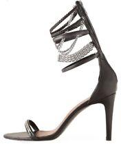ISABEL MARANT Rea Black Leather Chain Ankle Strap Heels, US10/EU40