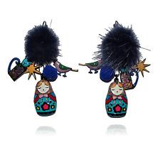 Boucles d'oreilles Matriochka,lol bijoux,pompon,chat,oiseau,poupée russe,bleu