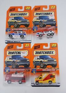 Lot Of 4 Matchbox To The Rescue Auxilary #21 ladder #23 Ambulance #25 Police #30