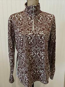 Athleta Women's XL 1/4 Zip Long Sleeve Pullover Top Brown & White Paisley Stripe