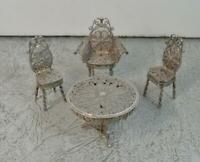 Antique Handmade Filigree Silver Miniature Table and Chairs Set