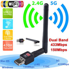 300Mbps Dual Band 2.4/5Ghz Wireless USB*WiFi Network Adapter w/Antenna 802.11AC-