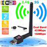 150Mbps Dual Band 2.4Ghz Wireless USB WiFi Network Adapter Antenna 802.11 GBLUS