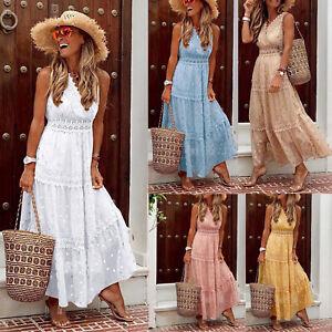 Women Maxi Dress Long Holiday Polka Dots Boho Crochet Lace V Neck Ladies Summer