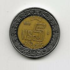 World Coins - Mexico 5 Pesos 1993 Bimetallic Coin KM# 552 ; Lot-M3