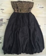 Vintage Sequin Dress - 1960s Black & Gold Shift Mod Party Evening Dress, Sz 6