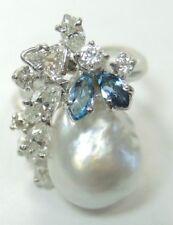 Antique Art Deco Vintage Baroque Pearl Diamond Aqua Platinum Ring Size 7.25 UK-O
