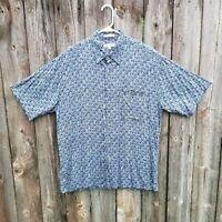 Men's Pierre Cardin Rayon Short Sleeve Button Front Shirt Size Large