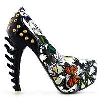 Rock Butterfly Studs Cut-out Peep-toe Bone Heels Club Pumps Size 4/5/6/7/8/9/10