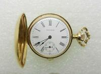 14K YELLOW GOLD ANTIQUE 1904 WALTHAM 15J LADIES POCKET WATCH PENDANT - LB2504
