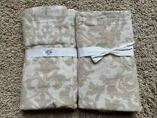 POTTERY BARN Jacquard Linen Medallion 2 EURO Shams NEW - Neutral