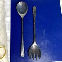 "Silverplated Set Salad Serving Spoon & Fork 9"" Made in Italy 2 Piece Vintage"
