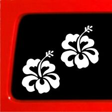 "(2) Hawaiian Hibiscus Vinyl Decal Car bumper sticker window set 3 "" flower"