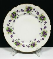 """Embassy Vitreous China Violets 10¼"""" Dinner Plate gold trim scalloped [multiples]"""