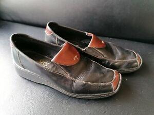 Rieker Ladies Black & Cherry Leather Flat Shoes UK Size 5 / EUR Size 38
