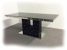 Sparkle 1800x900 Hi Gloss Black Polished S/Steel Dining Table  - BRAND NEW