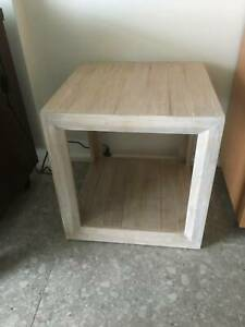 Square lime washed timber side table 50cm
