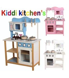 Kids wooden kitchen with free pans and utensils play kitchen in 3 colours