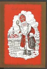 Santa Claus, Christmas, Santa with Toy Bag and Voyeuring Children, Old Pc 1970's