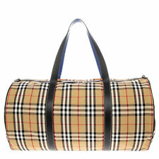 Burberry Vintage Check Duffel Travel Bag with Blue Accents