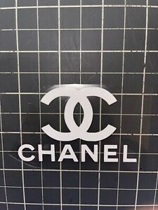 CHANEL LOGO HTV IRON ON 10X6 inches  WHITE Easy To Apply Free Shipping