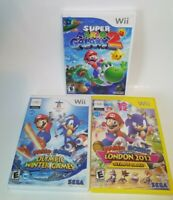 Wii Super Mario Sonic 3 Game Lot Galaxy 2 Olympic Winter Games London 2012