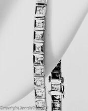 ART DECO 1.53 ct Round Diamond 14K White Gold Bracelet GIA RARE