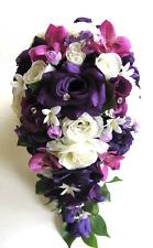 Wedding Bridal Bouquets 17 pc Bride Silk Flowers PURPLE PLUM EGGPLANT SANGRIA