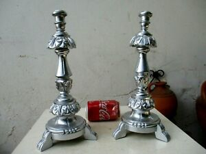 Vintage Pair Hand Carved Ornate Wood Silver Candlesticks Holder Neoclassical