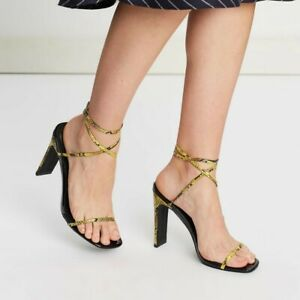 Spurr Yellow Snakeskin Faux Leather Strappy Heels US 7 Once Worn