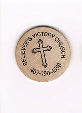 Vintage Wooden Nickel Token Believer's Victory Church Cross Blank