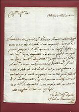 Lettera Manoscritto Vallebuia per Pensione del Papa Pio VI a Castruccio 1775