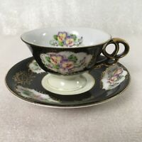 Ucagco China Hand Painted Japan Teacup Saucer Set Black Purple Pansy Floral Gold