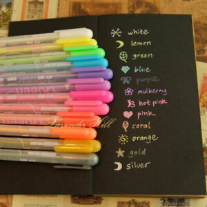 Neon Gel Pens Multi Colour Gold Silver White Pen Scrapbook Card Drawing