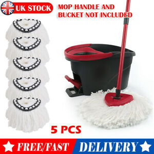 5pcs/Set Mop Head Easy Wring Clean Turbo Microfiber Spin Replacement for Vileda