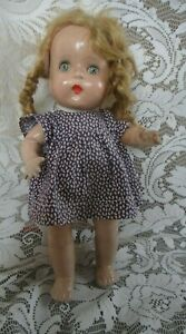 """13"""" Vintage Antique Horsman Compo Jointed Doll - Blue Tin Sleep Eyes- Mohair Wig"""