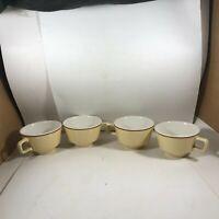 Set of 4 HOMER LAUGHLIN Restaurant Ware Tan Coffee Cups
