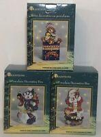 EUC Holiday Christmas Traditions Porcelain Decorative Boxes Lot Of 3 Santa Bear