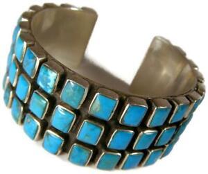 Federico Jimenez Turquoise & Sterling Silver Wide Bracelet