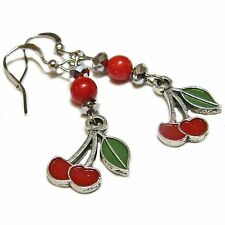 Silver Tone Metal Cherry and Dark Red Coral Bead Earrings By SoniaMcD