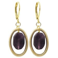 Gold Finish Purple Semi-precious Gemstone Oval Dangling Earring